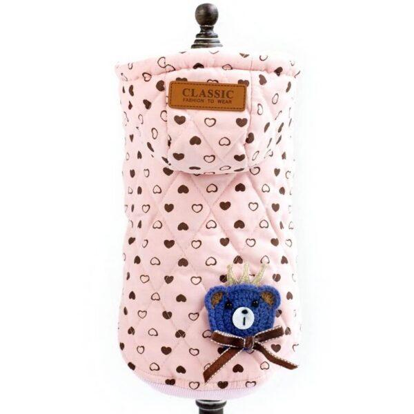 Kurtka dla psa różowa na napy z naszywką misiem