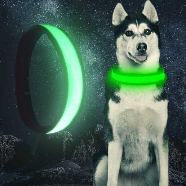 Świecąca Obroża Led USB SuperLux dla Psa Zielona