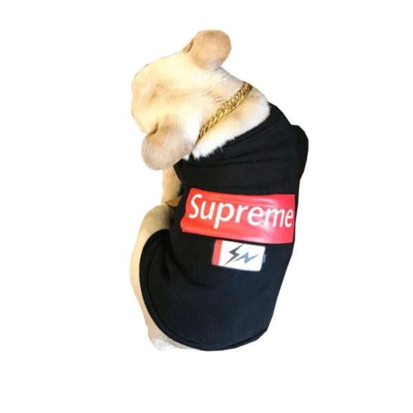 Czarna Bluza Supreme Battery Dla Psa Napis Buldog miniatura