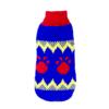 Sweter dla psa lub kota granatowy w czerwone łapy i żółty szlaczek