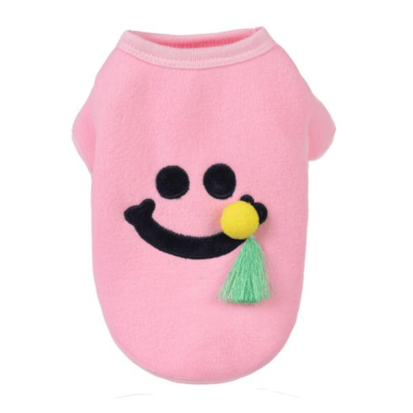 bluza polar dla psa uśmiech różowa frędzelek miniatura