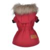 Ciepła kurtka, płaszczyk dla psa, ściągacz, czerwony kaptur, tył