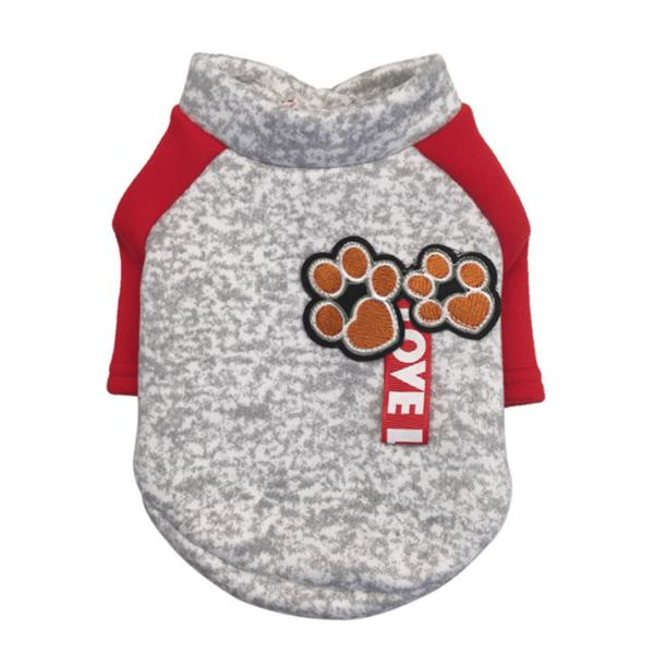 dresowa bluza dla psa szara czerwone rękawy z naszywkami miniaturka