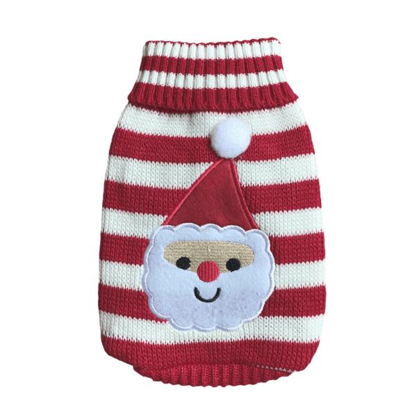 Elastyczny sweter świąteczny dla psa, wzór mikołaj przód
