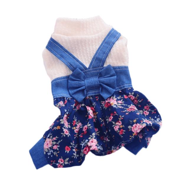 kombinezon sweterek z szelkami jeans dla psa wzór kwiaty kokarda miniatura