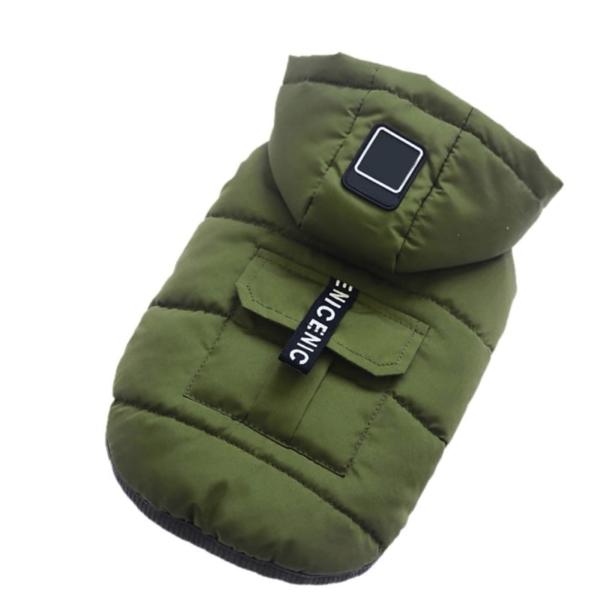 kurtka dla psa ocieplana zielona odpinany kaptur miniatura
