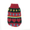 Sweter dla psa lub kota czerwony z serduszkami i wzorami niebieskimi i żółtymi