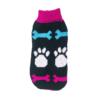 Sweter dla psa lub kota czarny z białymi łapami i niebieskimi oraz różowymi kościami