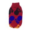 Sweter dla psa lub kota czerwony z czarnymi, niebieskimi i żółtymi łapkami