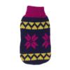 Sweter dla psa lub kota świąteczny granatowy z różowymi gwiazdami i żółtym szlaczkiem