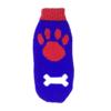 Sweter dla psa lub kota niebieski z dużą czerwoną łapą i dużą białą kością