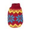 Sweter dla psa lub kota czerwony z niebieskimi gwiazdami i żółtym szlaczkiem