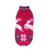 Sweter dla psa lub kota świąteczny czerwony w skaczące białe renifery i choinki