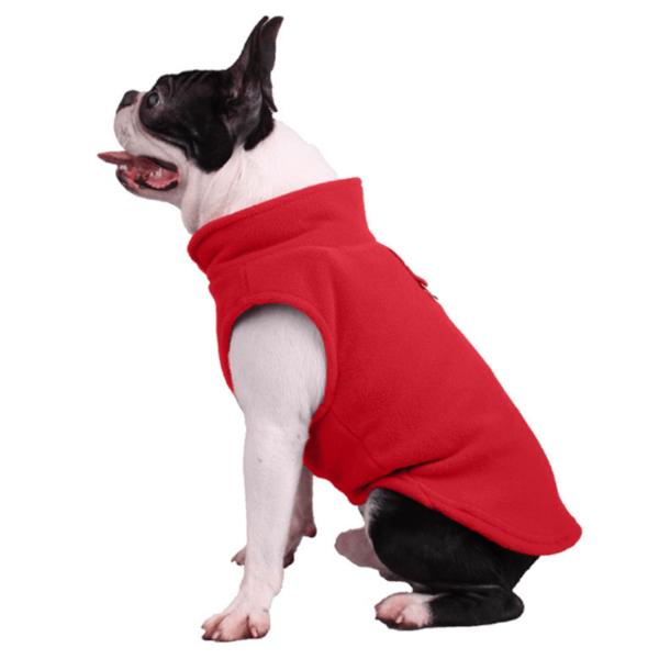 Uniwersalny, wygodny polar dla psa z zaczepem na smycz, kolor czerwony
