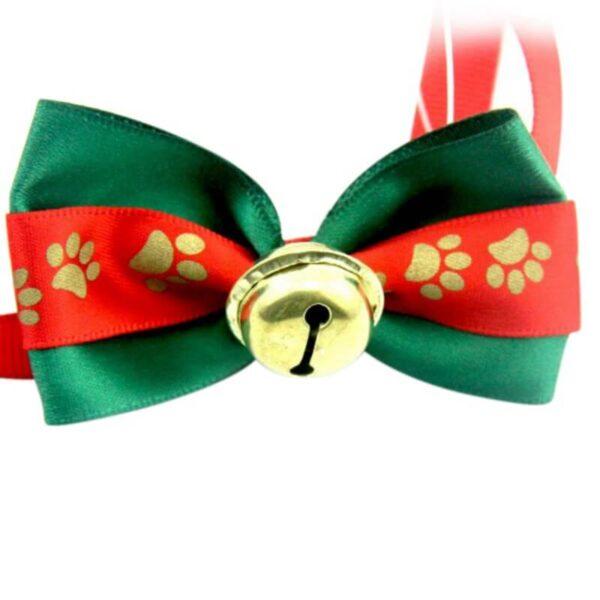 Świąteczna muszka dla psa z dzwoneczkiem przód