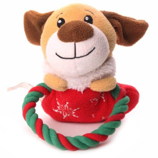 Świąteczna zabawka dla psa piszcząca ze sznurkiem piesek