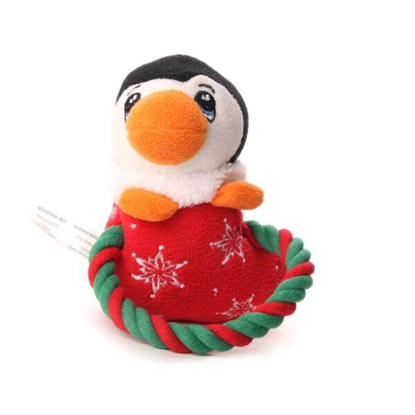 Świąteczna zabawka dla psa piszcząca ze sznurkiem pingwin