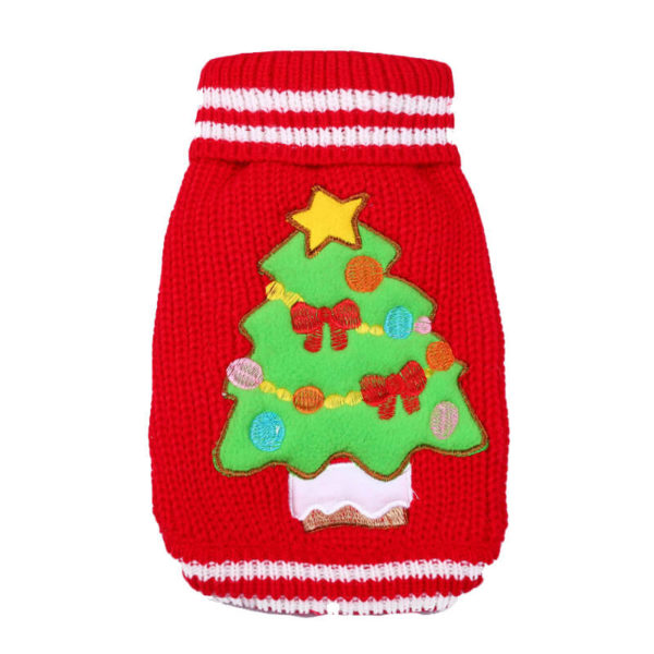 Świąteczny sweterek z choinką czerwony tył