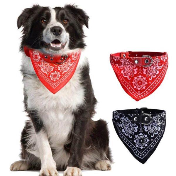 Regulowana obroża chustka dla psa rock czerwona i czarna na psie