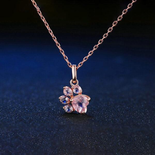 Srebrny naszyjnik łapka psa kota próba 925 pokryty 18k różowym złotem przód
