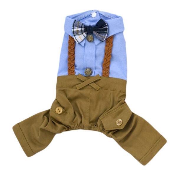 Kombinezon Damerino Abbi dla psa z brązowymi spodenkami szelkami muszką i niebieską koszulą