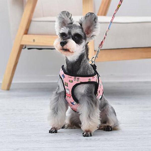 Bezuciskowe szelki dla psa PEPCIA ze smyczą różowe pies