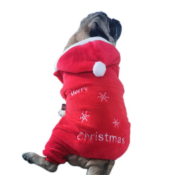 Świąteczny-pluszowy- kombinezon- Merry-Christmas- dla psa-na-mopsie