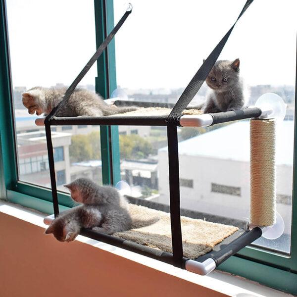 Dwupiętrowy hamak z drapakiem dla kota EMANUELE z kotkami