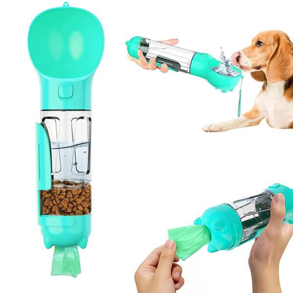 Butelka podróżna dla psa PETRAVEL miętowa 300ml z pojemnikiem na karmę