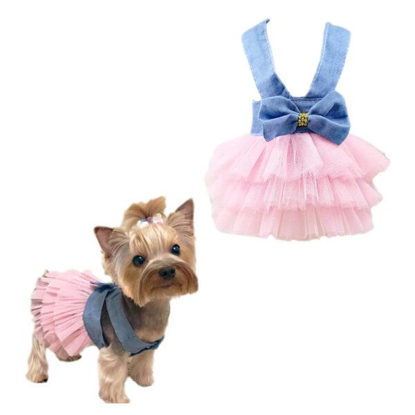 Sukienka dla psa suczki z falbanką i kokardką Tola