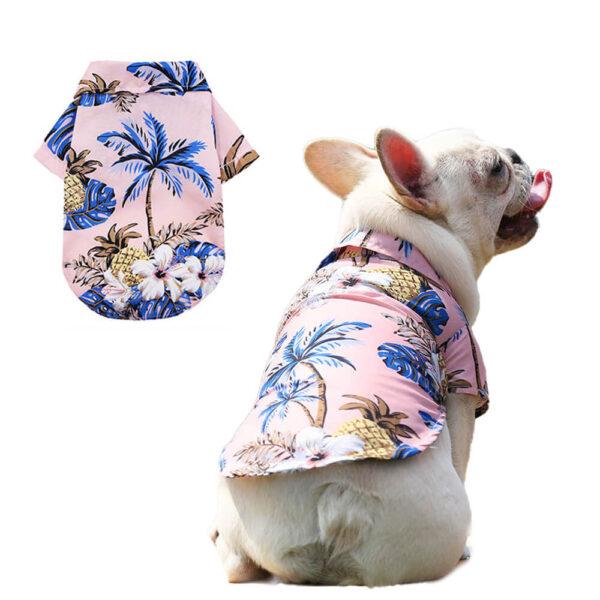 Hawajska koszula dla psa Floral różowa