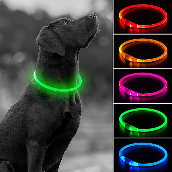 Poliuretanowa Obroża Świecąca Dla Psa Lumina USB LED Wszystkie Kolor