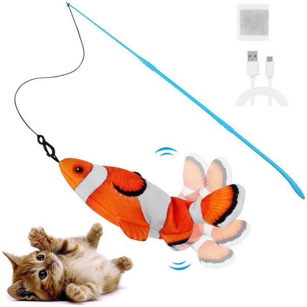 Skacząca Elektryczna Ryba Dla Kota Błazenek Namo Z Wędką Miniaturka